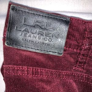 LRL burgundy corduroy straight leg pants.